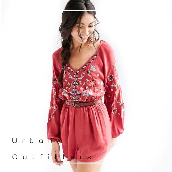 afeb3cab3a0 Urban Outfitters Ecote embroidered romper